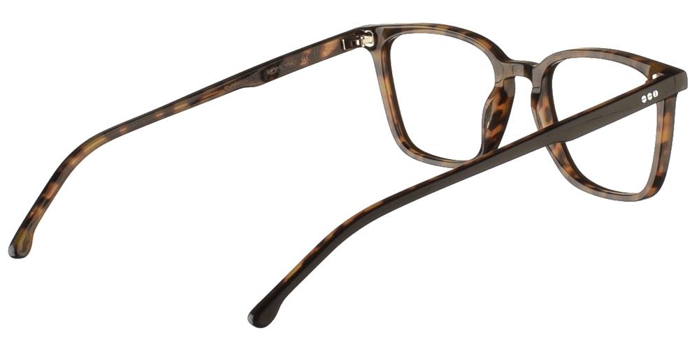 Τετράγωνα κοκάλινα ανδρικά και γυναικεία γυαλιά οράσεως Komono Ethan Black Tortoise σε μαύρη ταρταρούγαγια μικρά και μεσαία πρόσωπα.