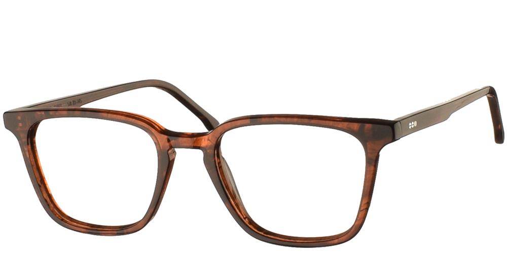 Τετράγωνα κοκάλινα ανδρικά και γυναικεία γυαλιά οράσεως Komono Ethan Coppery σε σκούρο χάλκινο-καφέ σκελετόγια μικρά και μεσαία πρόσωπα.