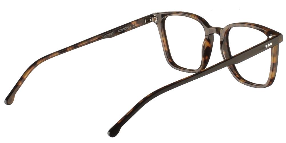 Τετράγωνα κοκάλινα ανδρικά και γυναικεία γυαλιά οράσεως Komono Ethan Grand Black Tortoise σε μαύρη ταρταρούγαγια μεσαία και μεγάλα πρόσωπα.