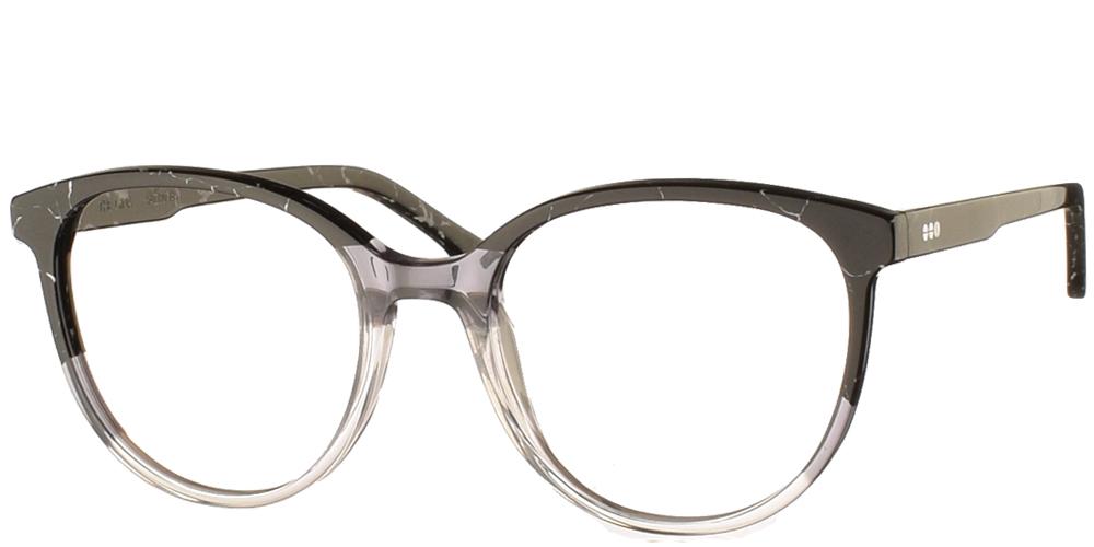Γυναικεία κοκάλινα γυαλιά οράσεως Komono Gina Obscure με εφέ μαρμάρου σε ασπρόμαυρες αποχρώσειςγια μεσαία και μεγάλα πρόσωπα.