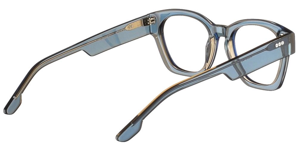 Τετράγωνα κοκάλινα ανδρικά και γυναικεία γυαλιά οράσεως Komono Omar Blue σε μπλε σκελετό με μπεζ λεπτομέρειεςγια όλα τα πρόσωπα.