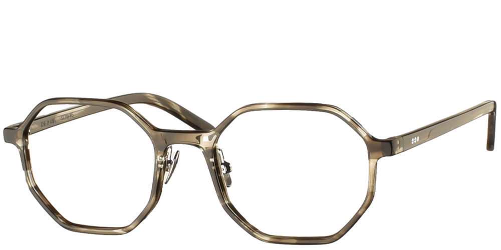 Κοκάλινα στρογγυλά πολυγωνικά ανδρικά και γυναικεία γυαλιά οράσεως Komono Robin Mist σε γκρι ταρταρούγαγια μεσαία και μεγάλα πρόσωπα.