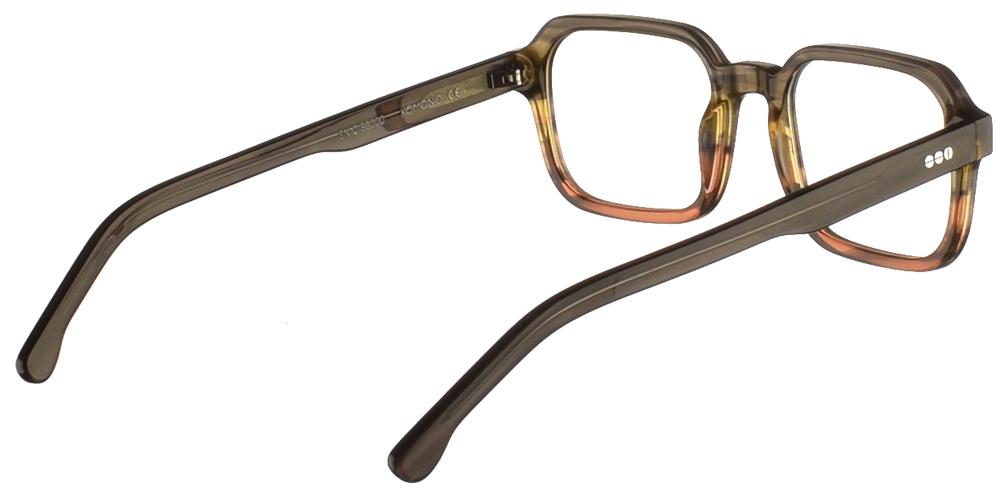 Τετράγωνα κοκάλινα ανδρικά και γυναικεία γυαλιά οράσεως Komono Romeo Canyon σε γκρι και κεραμιδί ντεγκραντέ σκελετόγια μικρά και μεσαία πρόσωπα.