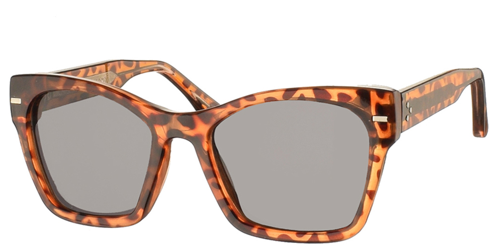 Women's acetate sunglasses Coco in brown tortoise and dark grey lenses by Spitfire best for all sized faces.