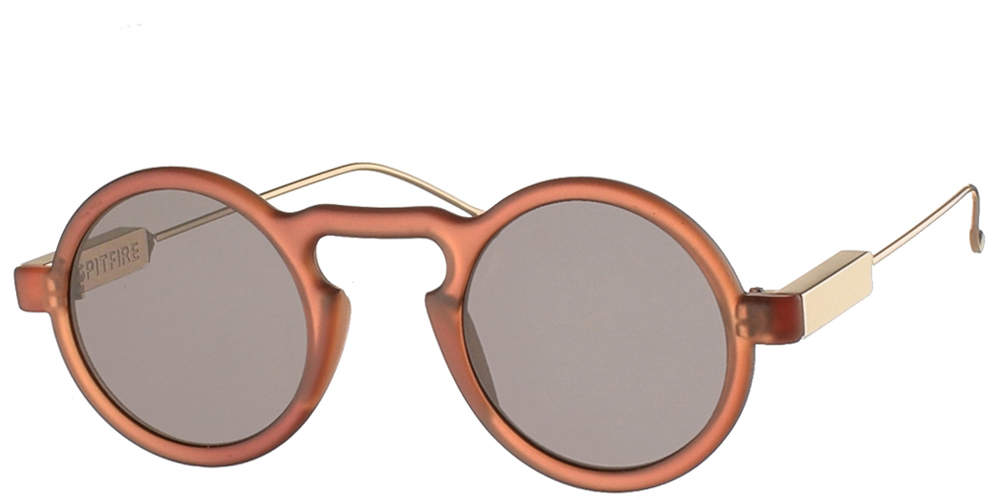 Round unisex acetate sunglasses Lennon in matte brown frame, with gold metal arms and flat grey lenses by Spitfirebest for small and medium sized faces.