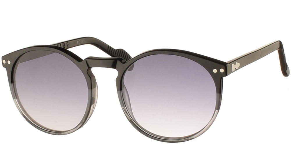 Round unisex acetate sunglasses Cut Eighteen in black frame and dark grey gradient lenses by Spitfirebest for medium and large sized faces.