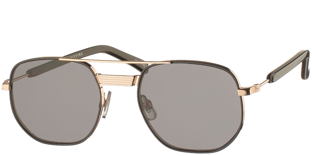 Square unisex metallic sunglasses Nailsea in gold and black frame and flat grey lenses by Spitfire best for all sized faces.