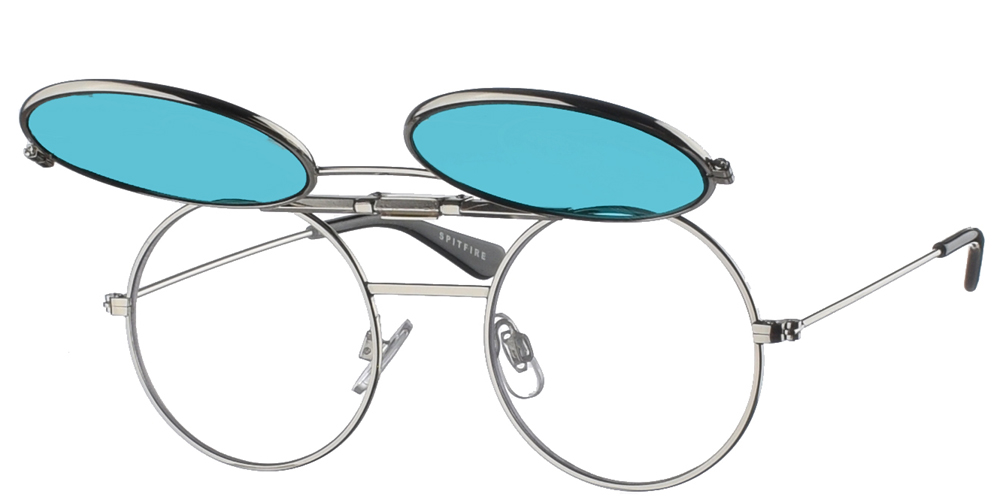 Round unisex metallic sunglasses Lennon Flip Up in silver frame and blue lenses by Spitfirebest for small and medium sized faces.