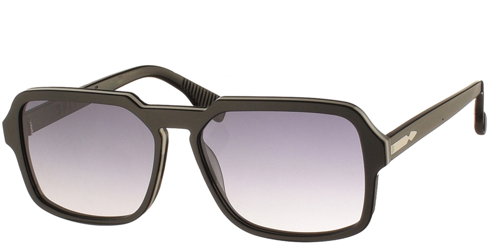 Square unisex acetate sunglasses Cut Twenty in black frame and flat grey gradient lenses by Spitfirebest for medium and large sized faces.