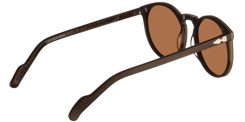 Round unisex acetate sunglasses Cut Eighteen in brown frame and flat brown lenses by Spitfire best for medium and large sized faces.