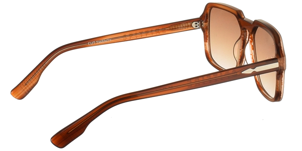 Square unisex acetate sunglasses Cut Twenty in brown frame and flat brown lenses by Spitfirebest for medium and large sized faces.