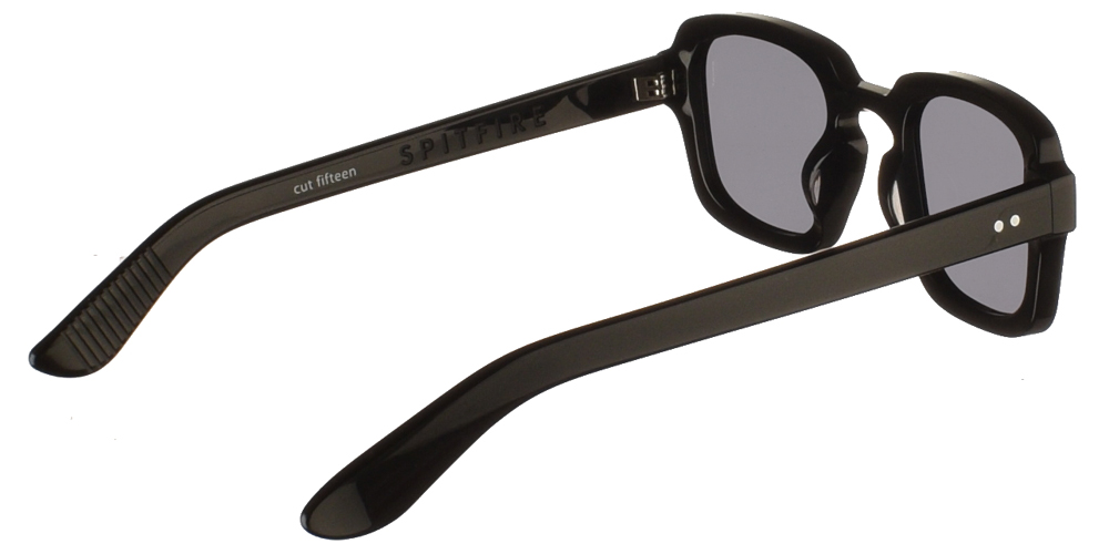 Unisex acetate sunglasses Cut Fifteen in black frame and flat grey lenses by Spitfirebest for medium and large sized faces.