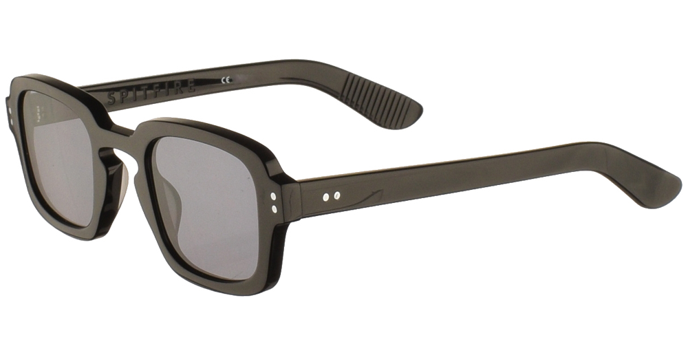 Κοκάλινα unisex γυαλιά ηλίου Cut Fifteen σε μαύρο σκελετό και επίπεδους γκρι φακούς της εταιρίας Spitfireγια μεσαία και μεγάλα πρόσωπα.