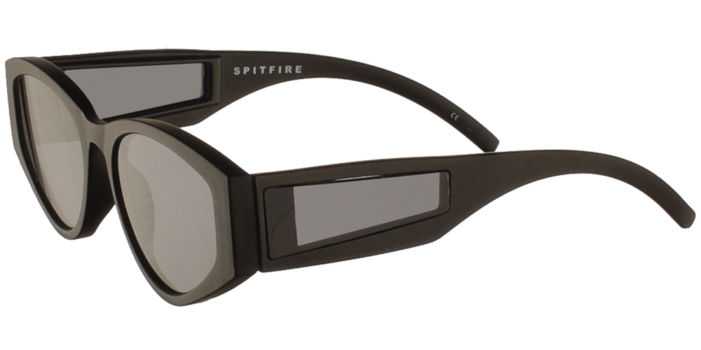 Unisex acetate sunglasses Cobain in black frame and flat grey lenses by Spitfire best for small and medium sized faces.