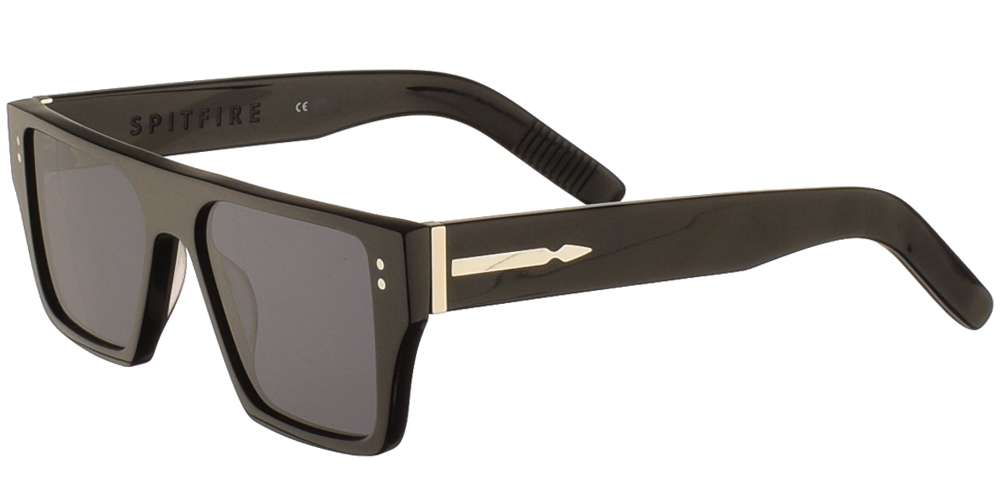 Unisex acetate sunglasses Cut Seventeen in black frame and flat grey lenses by Spitfirebest for medium and large sized faces.