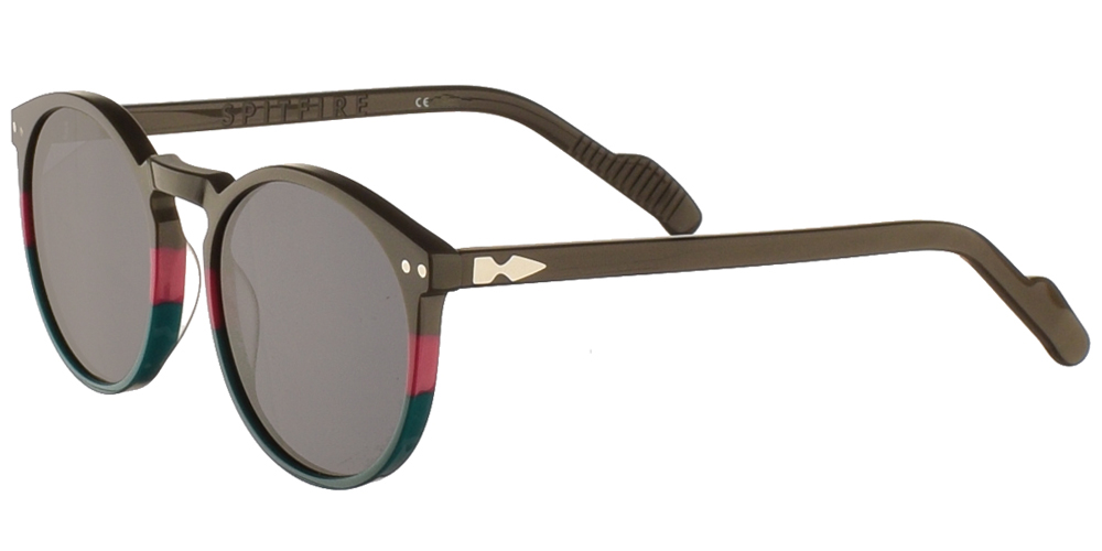 Round unisex acetate sunglasses Cut Eighteen in grey teal with pink turquoise details and dark grey lenses by Spitfire best for medium and large sized faces.