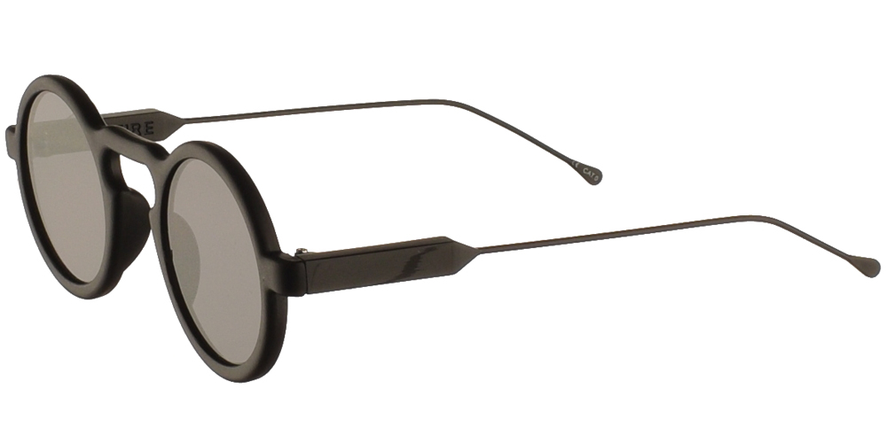 Round unisex acetate sunglasses Lennon in matte black frame, with silver metal arms and flat grey lenses by Spitfire best for small and medium sized faces.