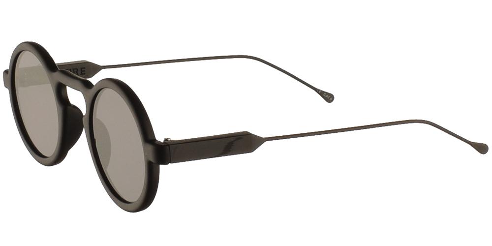Στρογγυλά κοκάλινα unisex γυαλιά ηλίου Lennon σε μαύρο ματ σκελετό, με ασημί μεταλλικούς βραχίονες και επίπεδους γκρι φακούς της εταιρίας Spitfire για μικρά και μεσαία πρόσωπα.