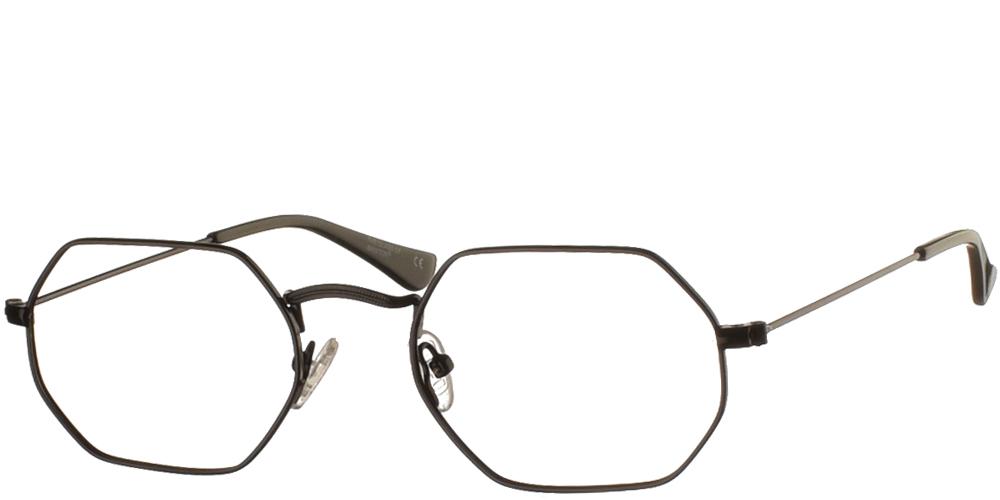 Πολυγωνικά μεταλλικά unisex γυαλιά οράσεως BF 133 σε μαύρο μεταλλικό σκελετό της εταιρίας Glass of Brixtonγια όλα τα πρόσωπα.