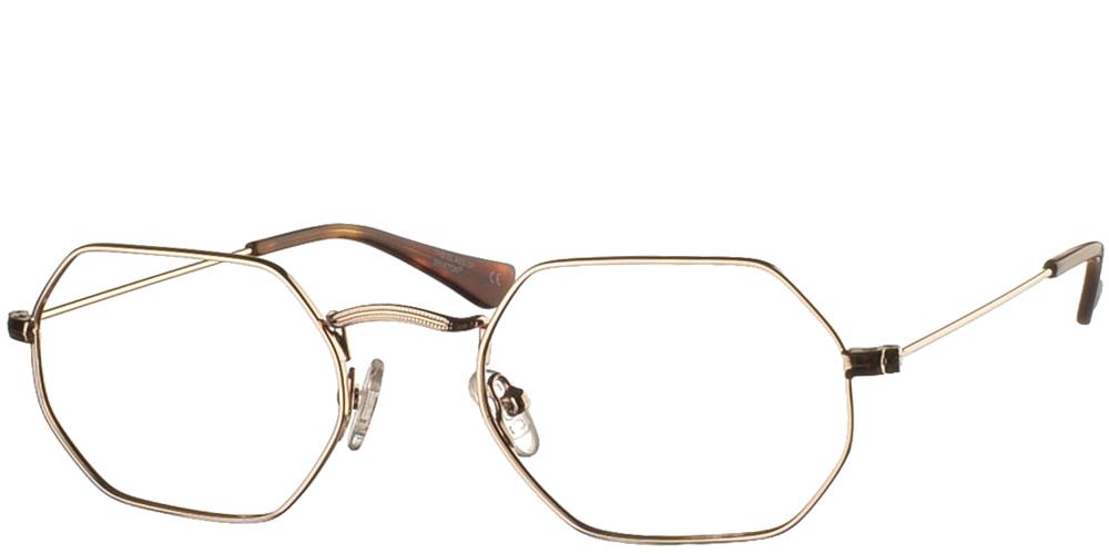 Πολυγωνικά μεταλλικά unisex γυαλιά οράσεως BF 133 σε χρυσό μεταλλικό σκελετό με λεπτομέρειες ταρταρούγας της εταιρίας Glass of Brixtonγια όλα τα πρόσωπα.