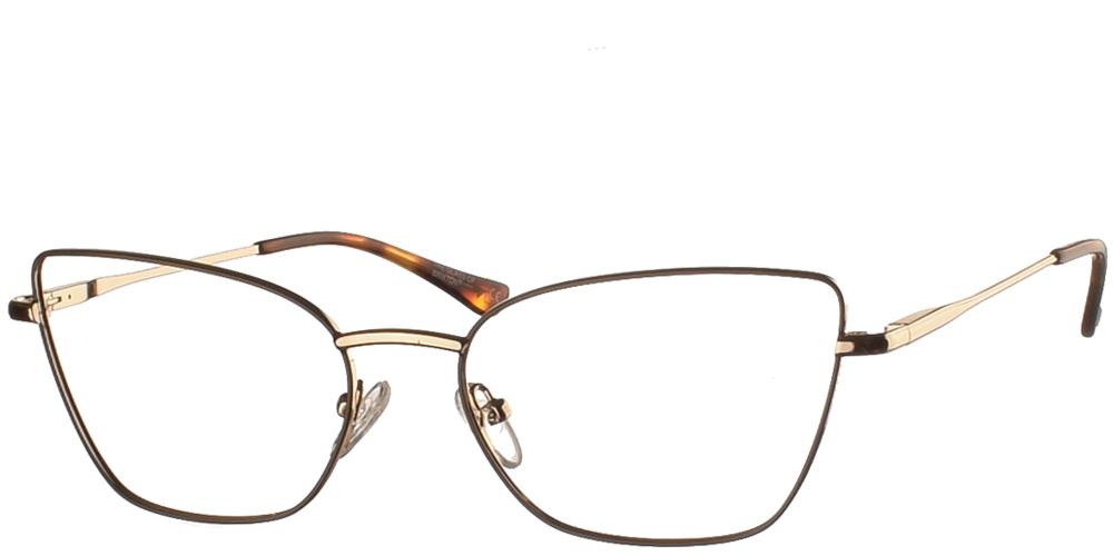 Γυναικεία μεταλλικά γυαλιά οράσεως πεταλούδα BF 137 σε γκρι και χρυσό σκελετό με λεπτομέρειες καφέ ταρταρούγας της εταιρίας Glass of Brixtonγια όλα τα πρόσωπα.
