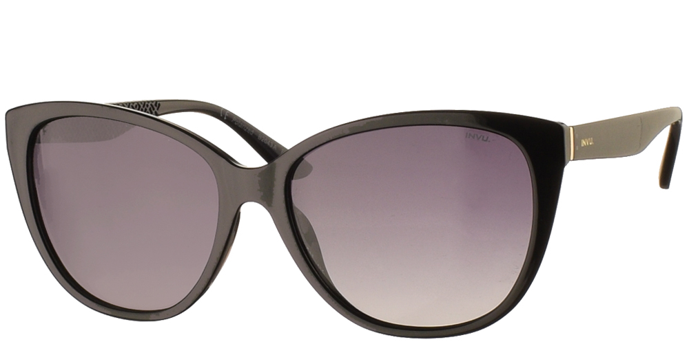 Women's acetate sunglasses B2043 in black frame and grey gradient polarized lenses by Invu best for all sized faces.