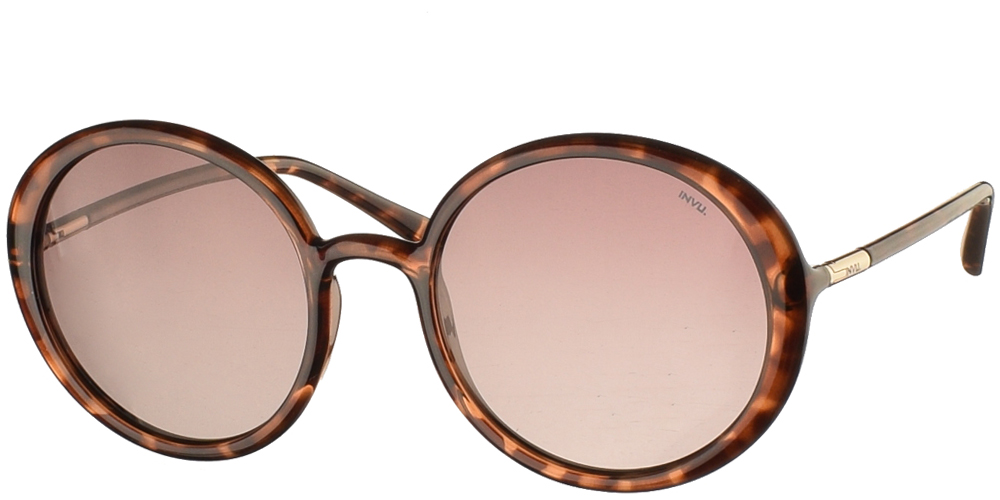 Women's acetate sunglasses B2046 in brown tortoise and brown gradient polarized lenses by Invu best for all sized faces.