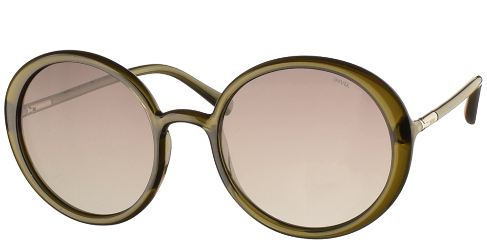 Women's acetate sunglasses B2046 in khaki frame and light grey polarized lenses by Invubest for all sized faces.