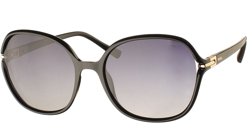 Women's acetate sunglasses B2114 in black frame and grey gradient polarized lenses by Invubest for medium and large sized faces.