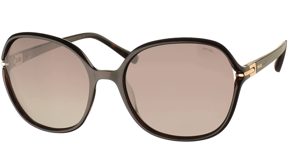 Women's acetate sunglasses B2114 in dark brown tortoise and brown gradient polarized lenses by Invu best for medium and large sized faces.