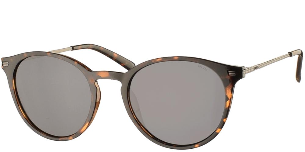Διαχρονικά κοκάλινα ανδρικά γυαλιά ηλίου B2124 σε καφέ ταρταρούγα με γκρι polarized φακούς της εταιρίας Invuγια όλα τα πρόσωπα.