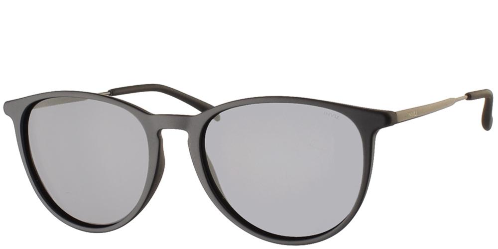 Διαχρονικά κοκάλινα ανδρικά γυαλιά ηλίου B2945 σε ματ μπλε σκελετό με γκρι polarized φακούς της εταιρίας Invuγια όλα τα πρόσωπα.