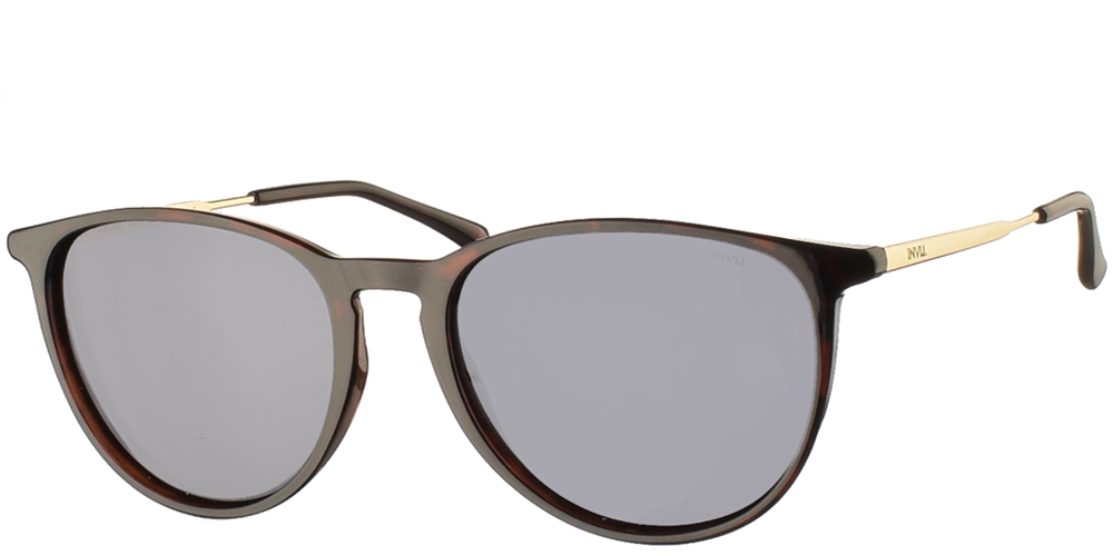Timeless acetate sunglasses for men B2945 in dark brown tortoise and grey polarized lenses by Invu best for all sized faces.