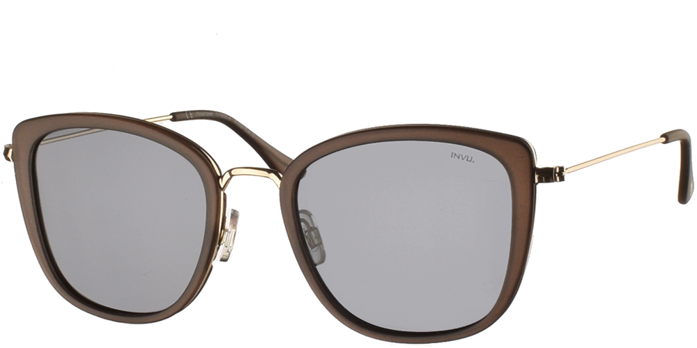 Women's acetate sunglasses T1905 in matte brown frame, with gold details and grey polarized lenses by Invu best for all sized faces.
