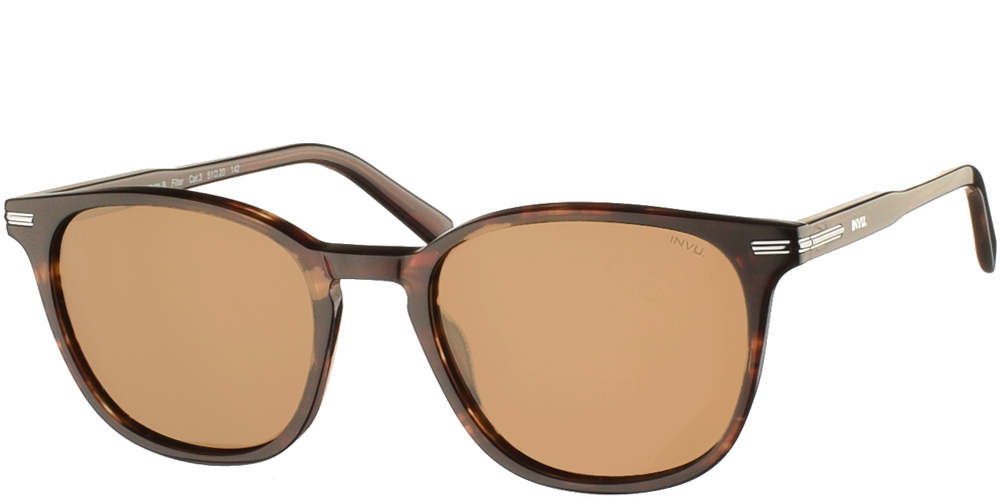 Timeless acetate sunglasses for men V2101 in brown tortoise, with silver details and brown polarized lenses by Invubest for all sized faces.