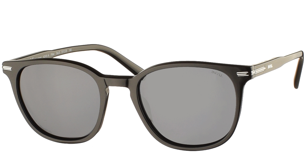 Timeless acetate sunglasses for men V2101 in matte black frame, with silver details and grey polarized lenses by Invubest for all sized faces.