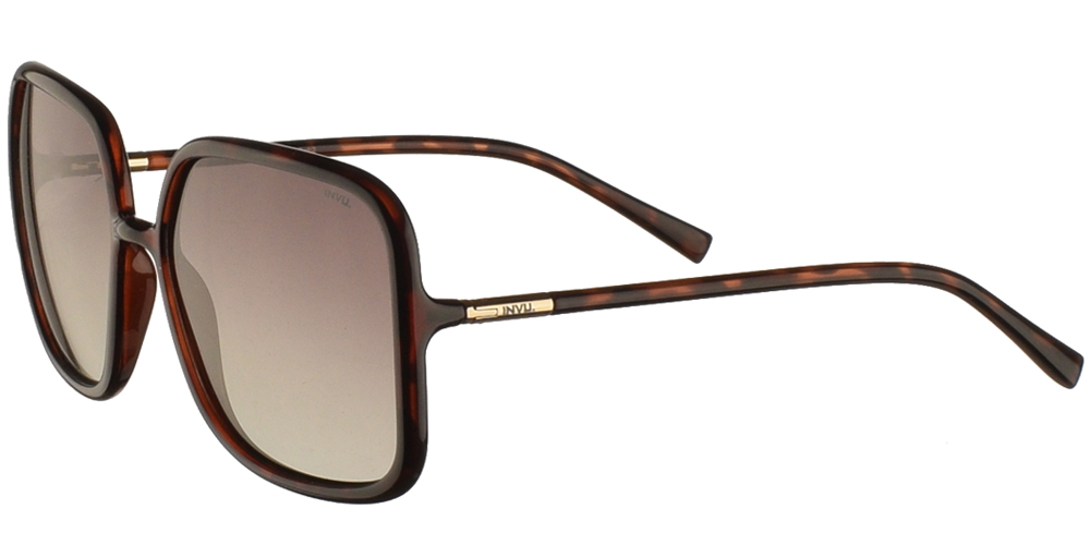 Διαχρονικά κοκάλινα γυναικεία γυαλιά ηλίου B2045 σε καφέ ταρταρούγα με καφέ ντεγκραντέ polarized φακούς της εταιρίας Invuγια μεσαία και μεγάλα πρόσωπα.