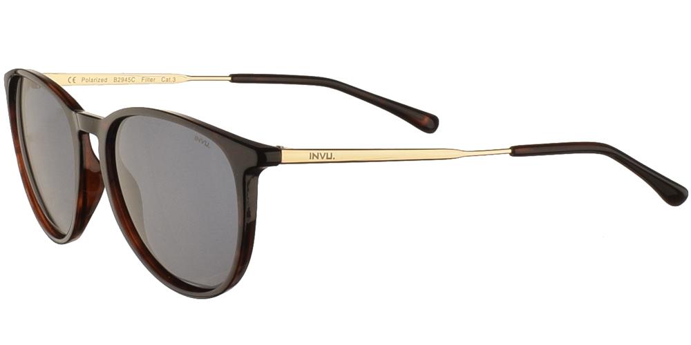 Διαχρονικά κοκάλινα ανδρικά γυαλιά ηλίου B2945 σε σκουρόχρωμη καφέ ταρταρούγα με γκρι polarized φακούς της εταιρίας Invuγια όλα τα πρόσωπα.