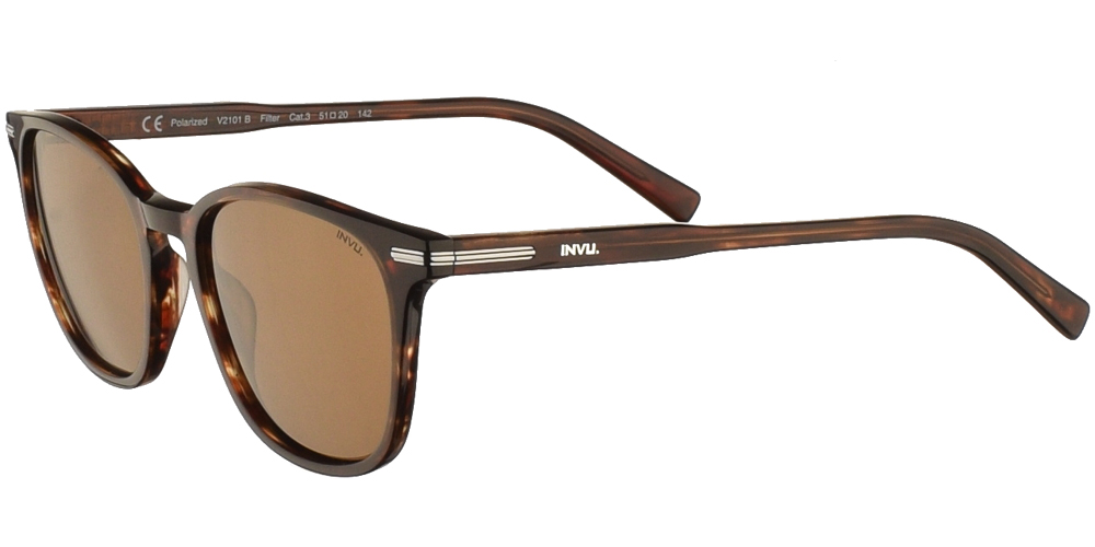 Διαχρονικά κοκάλινα ανδρικά γυαλιά ηλίου V2101 σε καφέ ταρταρούγα, με ασημί λεπτομέρειες και καφέ polarized φακούς της εταιρίας Invuγια όλα τα πρόσωπα.