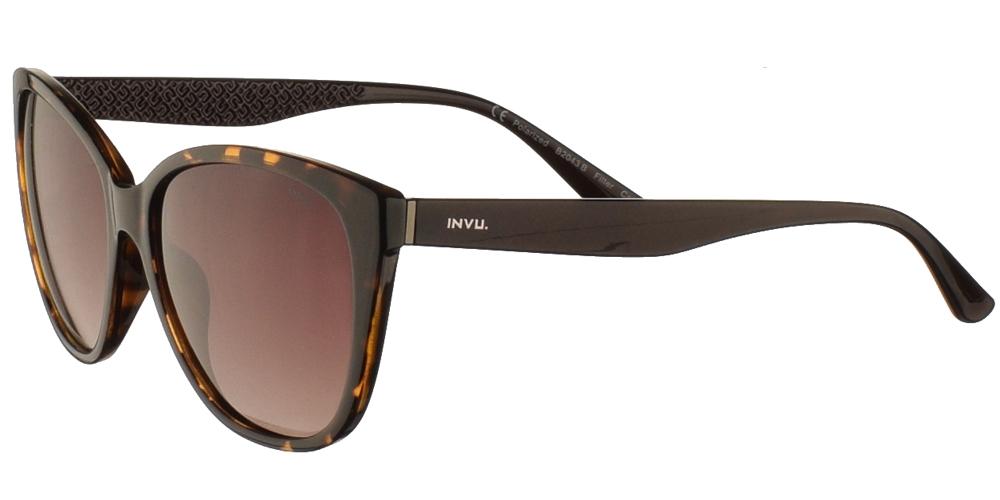 Διαχρονικά κοκάλινα γυναικεία γυαλιά ηλίου πεταλούδα B2043 σε καφέ ταρταρούγα και με καφέ ντεγκραντέ polarized φακούς της εταιρίας Invu για όλα τα πρόσωπα.