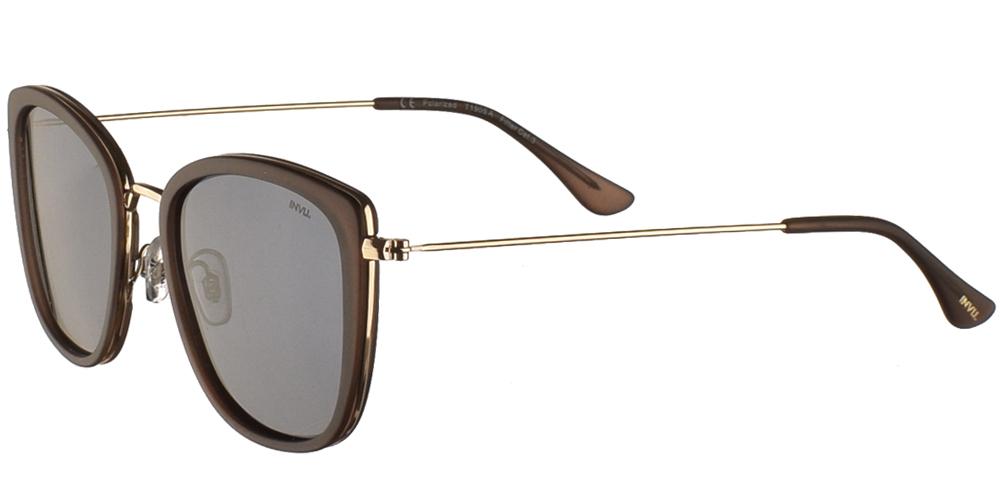 Διαχρονικά κοκάλινα γυναικεία γυαλιά ηλίου T1905 σε καφέ ματ σκελετό, με χρυσές λεπτομέρειες και με γκρι polarized φακούς της εταιρίας Invu για όλα τα πρόσωπα.
