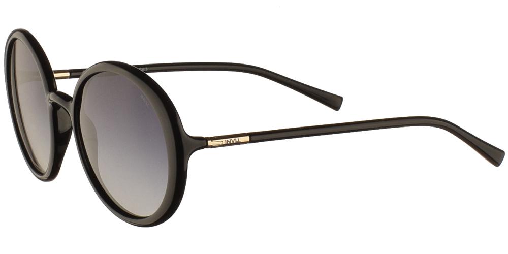 Διαχρονικά κοκάλινα γυναικεία γυαλιά ηλίου B2046 σε μαύρο χρώμα με γκρι ντεγκραντέ polarized φακούς της εταιρίας Invu για όλα τα πρόσωπα.