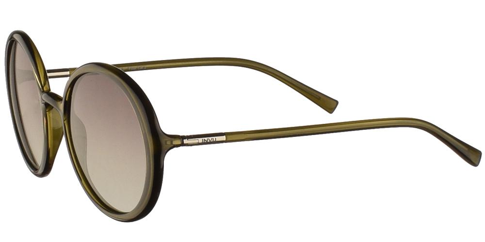 Διαχρονικά κοκάλινα γυναικεία γυαλιά ηλίου B2046 σε χακί χρώμα με απαλούς γκρι polarized φακούς της εταιρίας Invuγια όλα τα πρόσωπα.